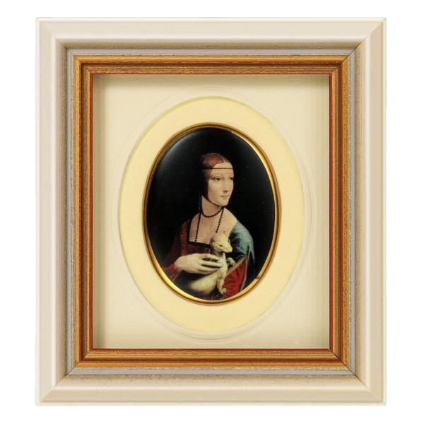 "Leonardo da Vinci: Miniatur-Porzellanbild ""Dame mit Hermelin"""