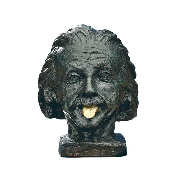 """J. Nemecek: """"Einstein-Kopf mit goldener Zunge"""""""