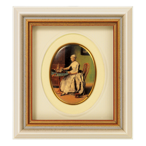 "Jean-Étienne Liotard: Miniatur-Porzellanbild ""Schokolade trinkende Dame"""