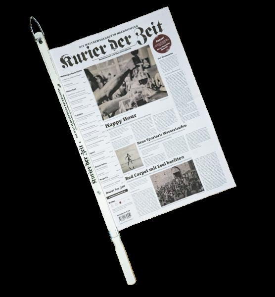 Kurier der Zeit mit Zeitungsstange