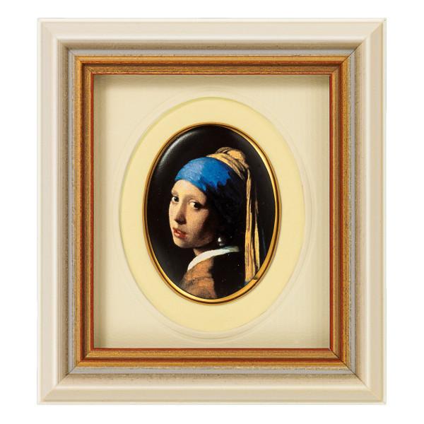 "Jan Vermeer van Delft: Miniatur-Porzellanbild ""Das Mädchen mit dem Perlenohrring"""